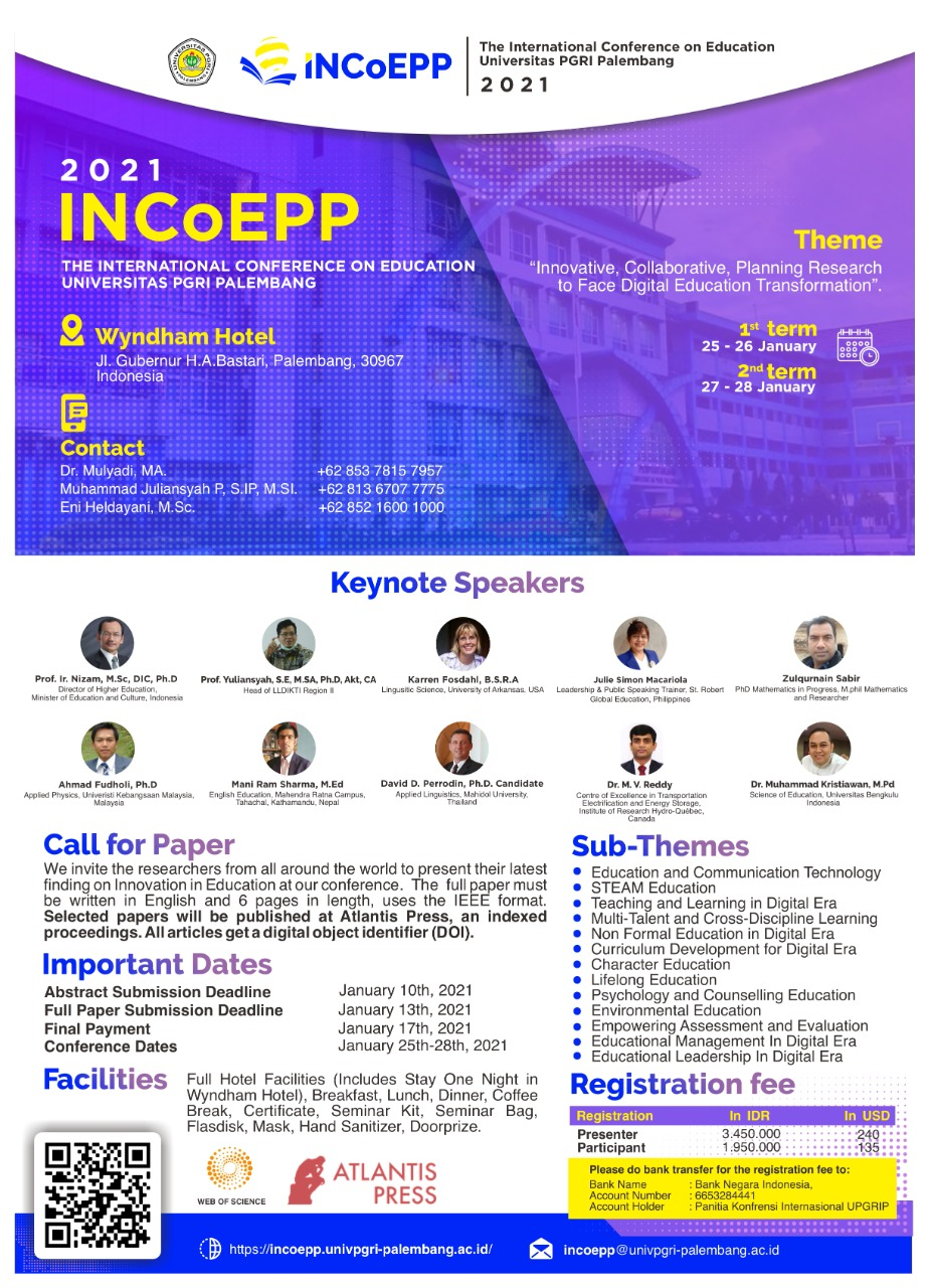 The International Conference on Education Universitas PGRI Palembang